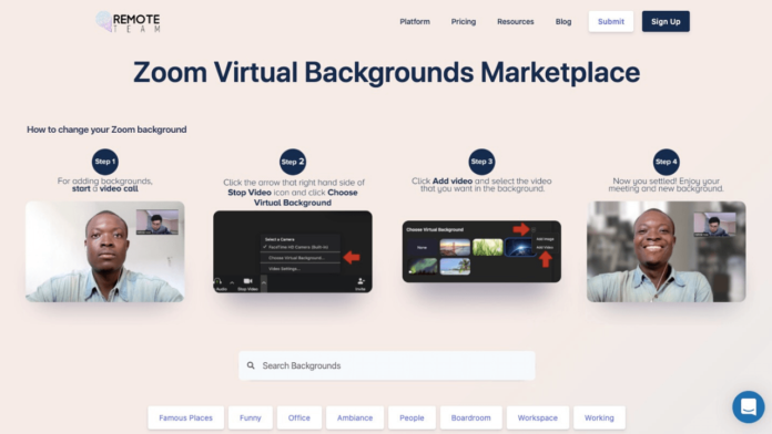 RemoteTeam'den Zoom Arka Planları İçin Pazar Yeri: Zoom Virtual Backgrounds Marketplace