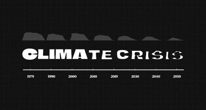İklim Krizine Dikkat Çekmek İçin Eriyen Buzulları Temsil Eden Yazı Tipi